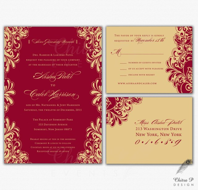 Red And Gold Wedding Invitations Red Gold Wedding Invitations Rsvp Printed Indian Chitrap
