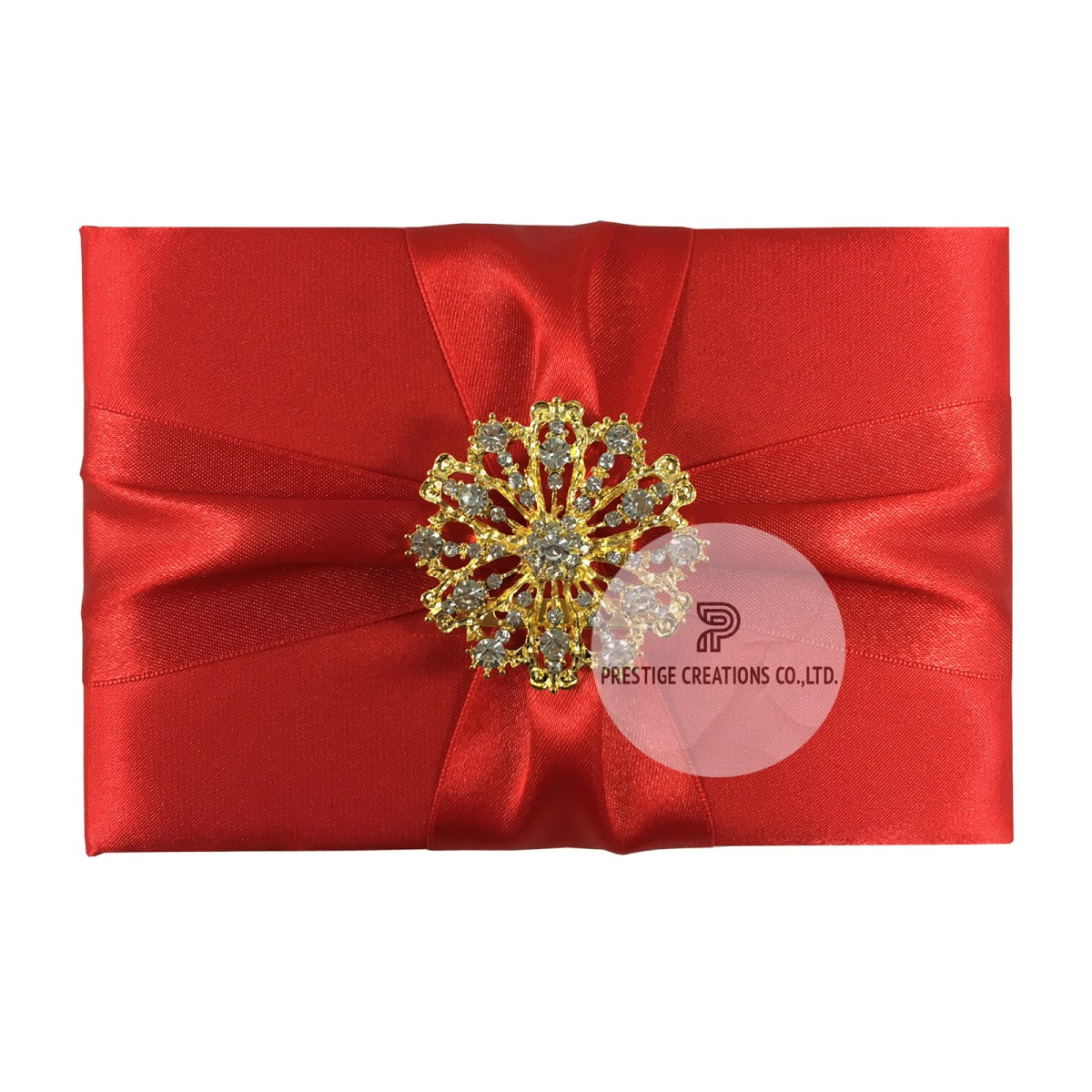 Red Wedding Invitations Red Pocket Fold Invitation For Luxury Wedding Events Featuring Gold Brooch Embellishment