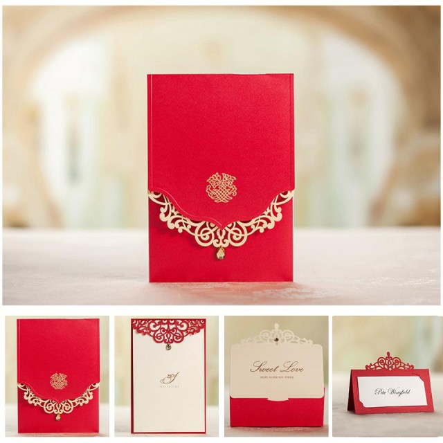 Red Wedding Invitations Us 1374 Royal Red Wedding Invitation Card And Menu Customized Printing Favor Boxes Name Card 5509 Matching Serise Free Shipping In Cards