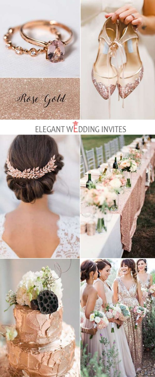 Rose Gold Wedding Decorations Glamorous Rose Gold Wedding Color Palette Ideas