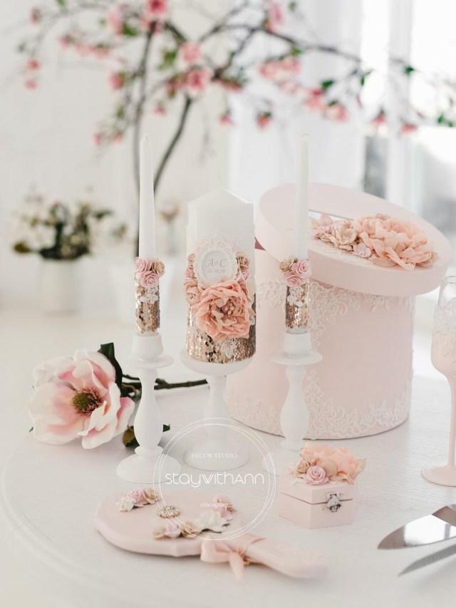 Rose Gold Wedding Decorations Unity Candle Set Rose Gold Wedding Decorations Personalized Etsy