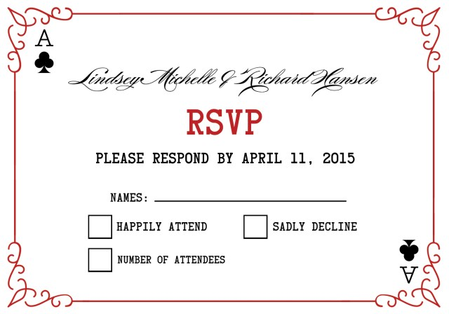 Rsvp Wedding Invitation Las Vegas Wedding Invitations Rsvp Elegant Playing Card