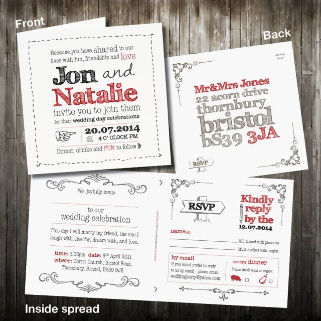 Rsvp Wedding Invitation Personalised Sketch Wedding Invitation With Rsvp Violet Pickles