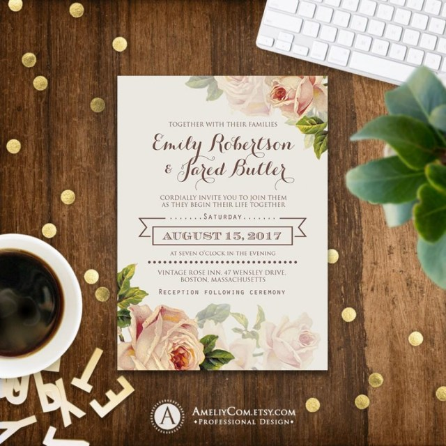 Rustic Chic Wedding Invitations Diy Floral Wedding Invitation Printable Gentle Cream Roses Rustic Shab