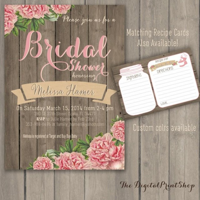 Rustic Chic Wedding Invitations Diy Rustic Winter Wedding Bridal Shower Invite Wood Pink Peonies Lace