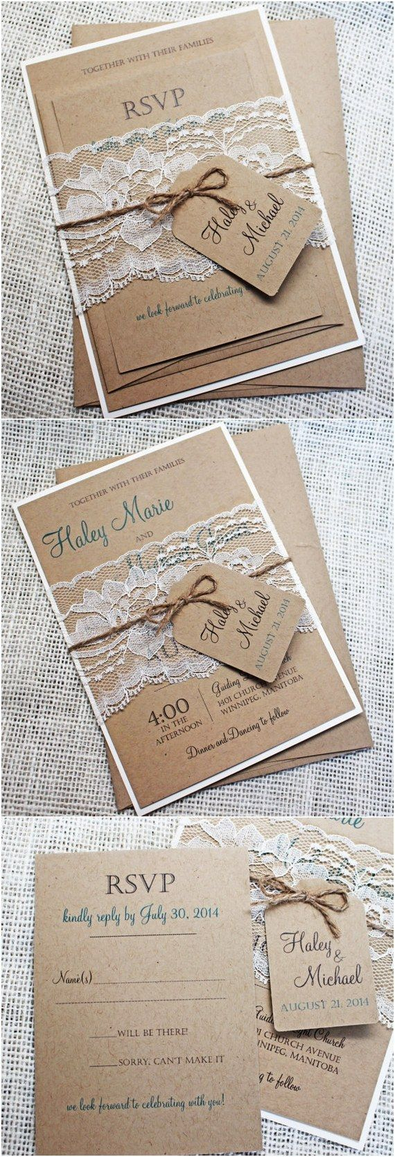 Rustic Lace Wedding Invitations 15 Rustic Wedding Invitations From Etsy Rustic Wedding Ideas