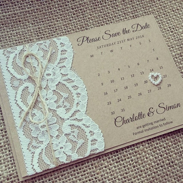 Rustic Lace Wedding Invitations Custom Listing X25 Madixx1 Rustic Lace Save The Date In 2018