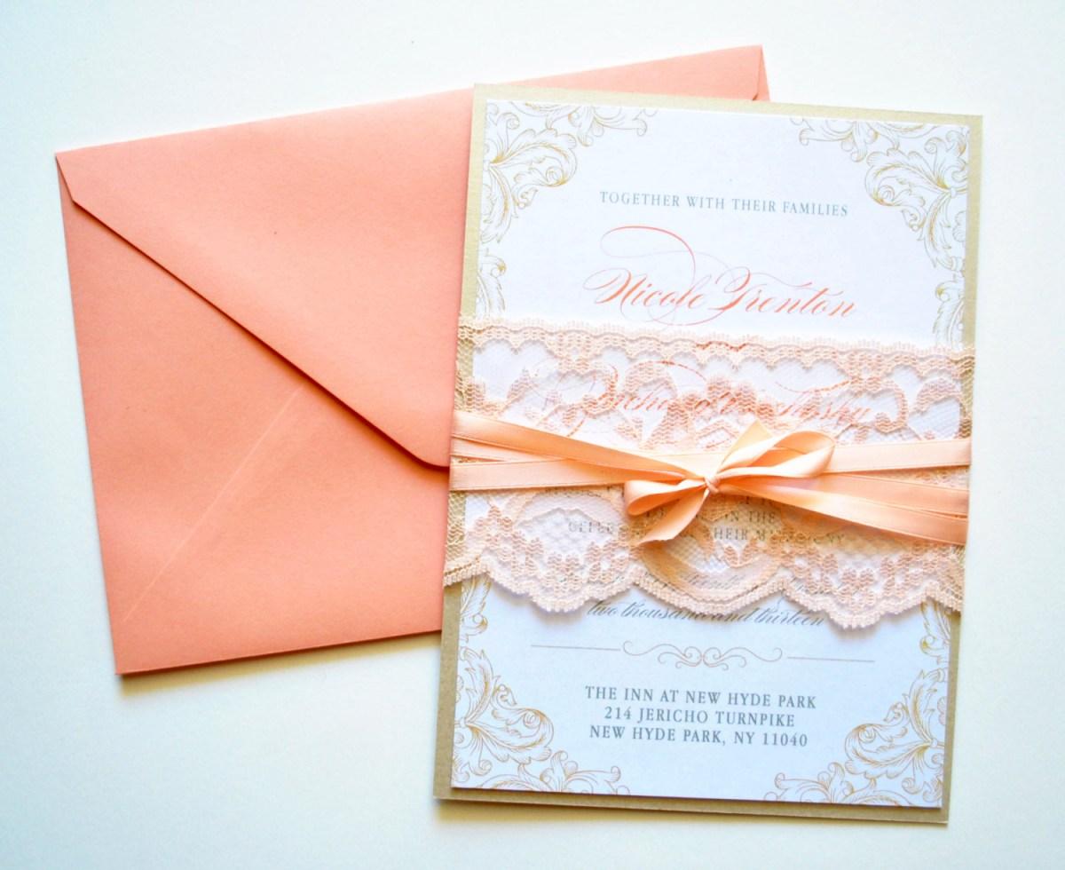 Rustic Lace Wedding Invitations Peach Lace Wedding Invitations Rustic Lace Whimsybdesigns 695