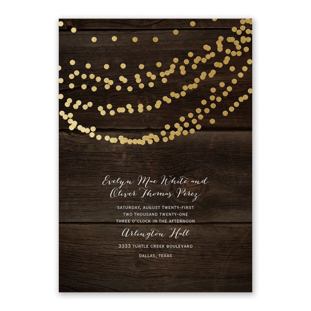 Rustic Wedding Invitation Rustic Beauty Foil Invitation Invitations Dawn