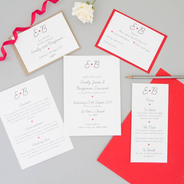 Sample Wedding Invitation Red Heart Wedding Invitation Full Sample Set The Two Wagtails