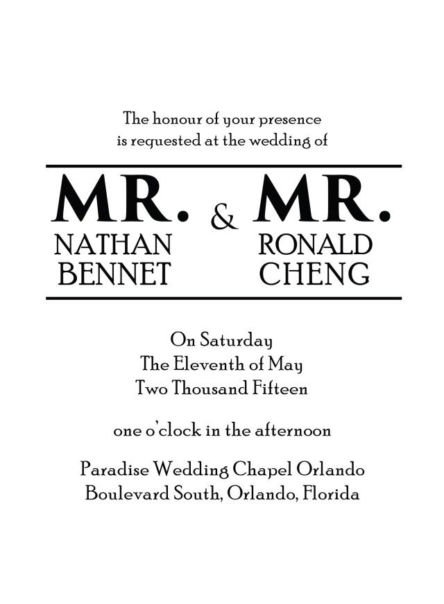 Sample Wedding Invitation Sample Lgbt Wedding Invitations Mr Mr Invitations R2