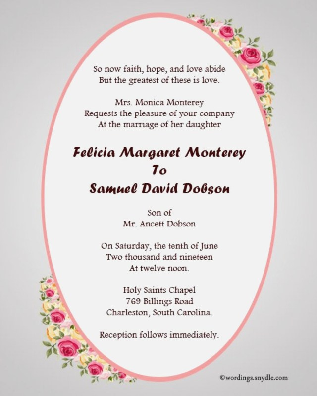 Samples Of Wedding Invitations 30 Concept Christian Wedding Invitation Wording Outstanding Co