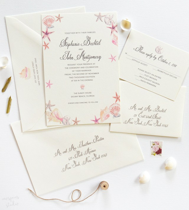 Seashell Wedding Invitations Custom Listing For Alexandra Custom Invitations Unique Wedding