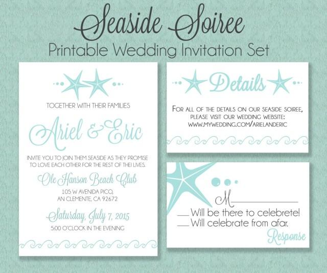 Seashell Wedding Invitations Sea Shell Printable Wedding Invitation Suite Beach Wedding Etsy