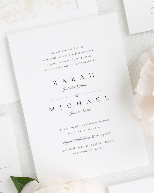 Simple Elegant Wedding Invitations Stylish And Classic Wedding Invitations In Champagne Wedding