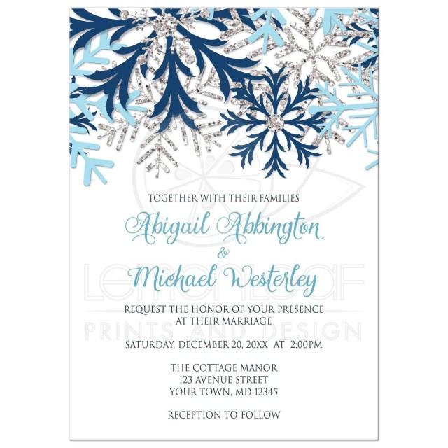 Snowflake Themed Wedding Invitations Wedding Invitations Winter Snowflake Blue Silver In 2018 Wedding
