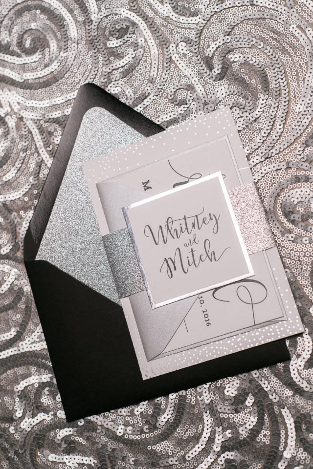 Sparkle Wedding Invitations Sparkle Foil Silver Black Digital Glitter New Years Eve