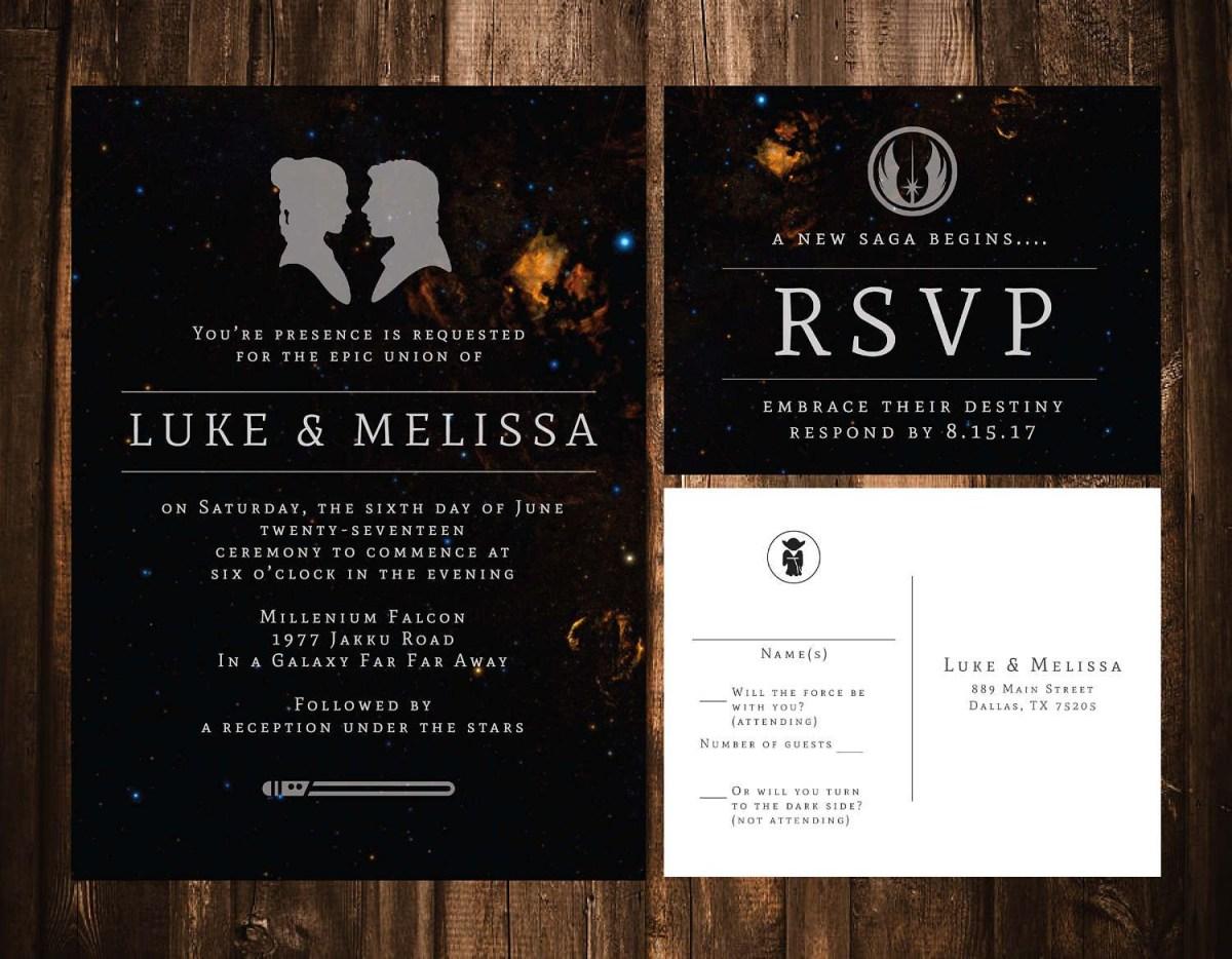 Star Wars Wedding Invitations Star Wars Wedding Invitation Wedding Invitation Template Galaxy