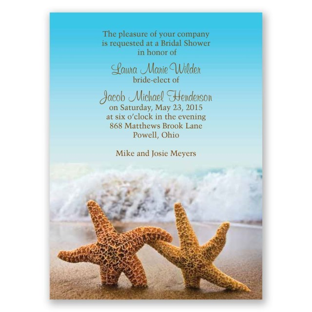 Starfish Wedding Invitations Starfish Petite Bridal Shower Invitation Invitations Dawn