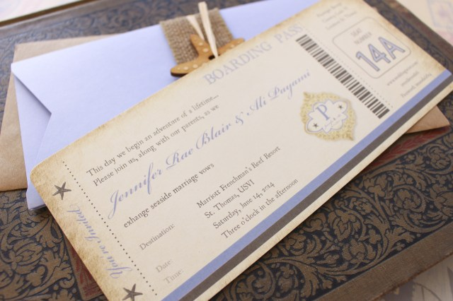 Starfish Wedding Invitations Vintage Starfish Boarding Pass Wedding Invitation St Thomas