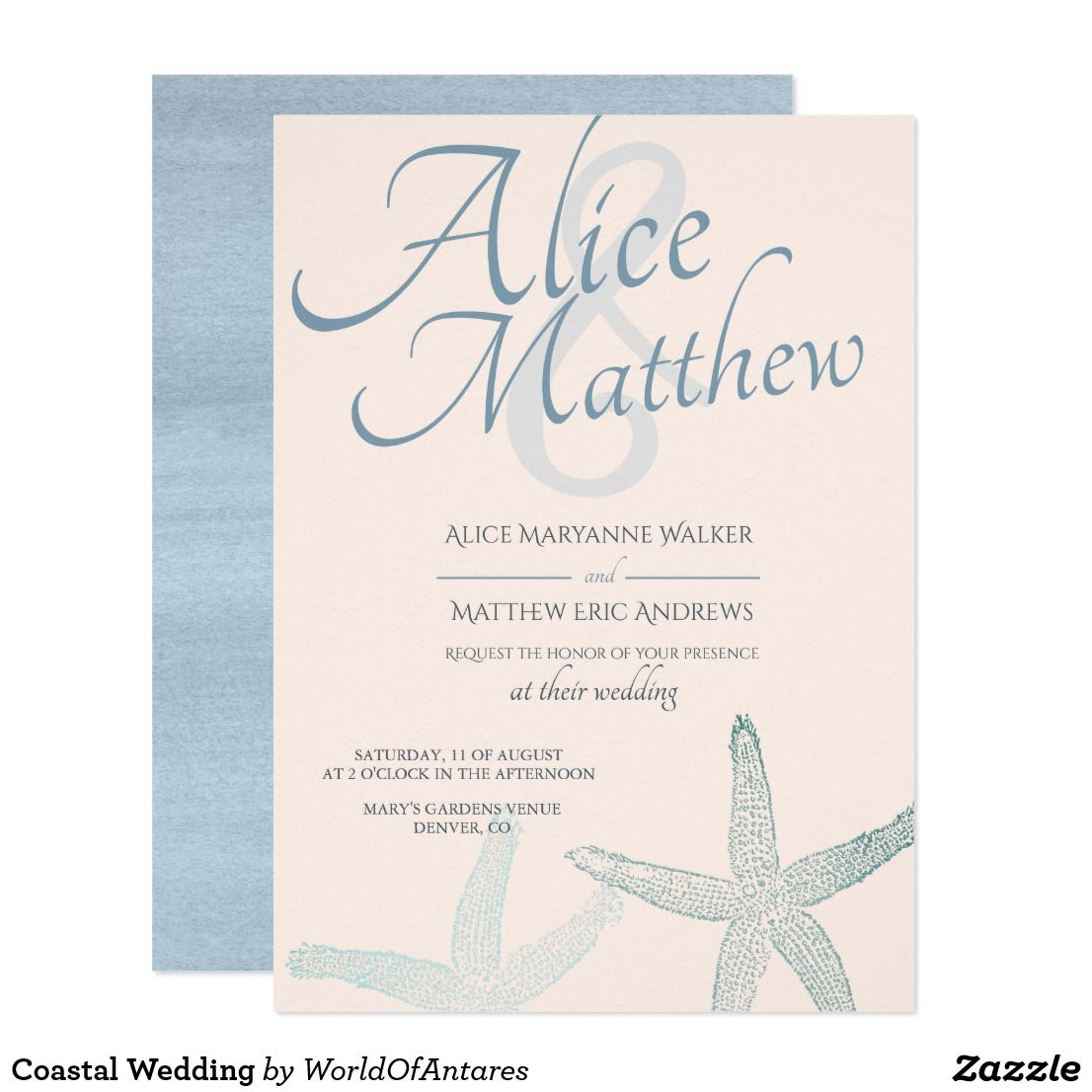Stuffing Wedding Invitations Coastal Wedding Invitation Coastal Blue Blush Pink Starfish