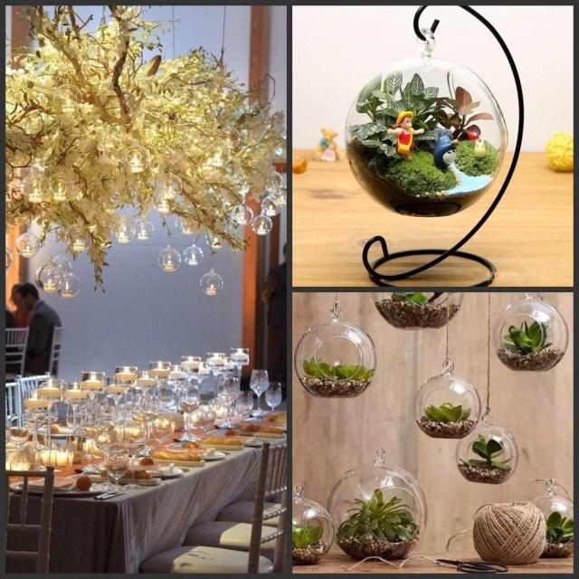 Succulent Wedding Decorations 8cm 10cm 12cm 15cm Clear Hanging Glass Vase Succulent Air Planter