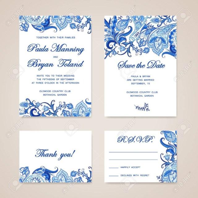 Traditional Wedding Invitation Set Of Wedding Invitation Card With Traditional Ethnic Flower