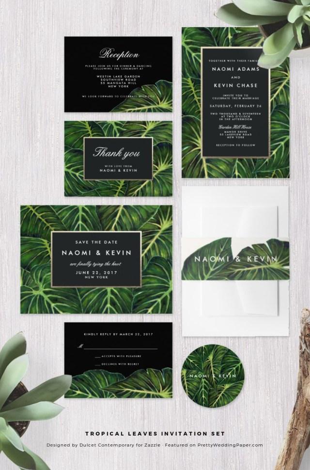 Tropical Wedding Invitations Chic Modern Tropical Wedding Invitations Pretty Wedding