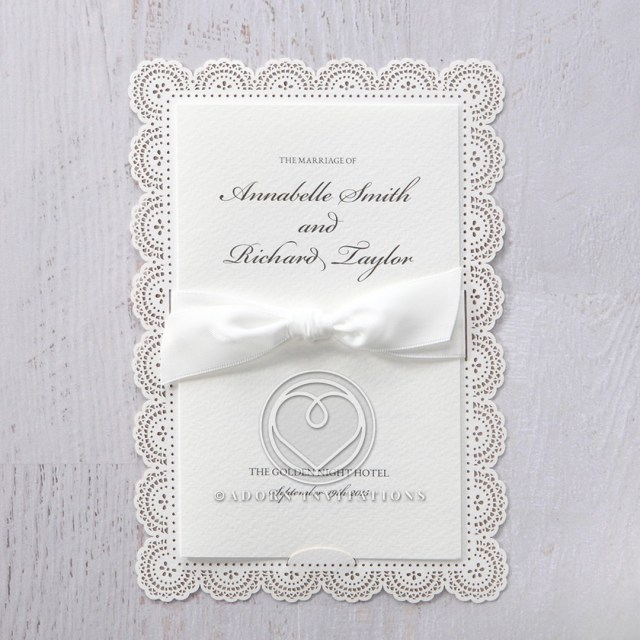 Vintage Lace Wedding Invitations Victorian Frame Lace Pattern With Bifold Invitation Ribbon