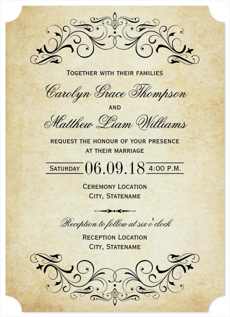 Vintage Wedding Invitation Templates 31 Elegant Wedding Invitation Templates Free Sample Example