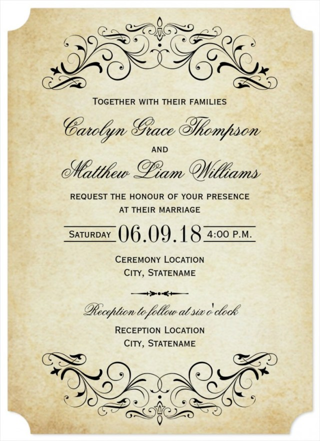 32 Best Photo Of Vintage Wedding Invitation Templates