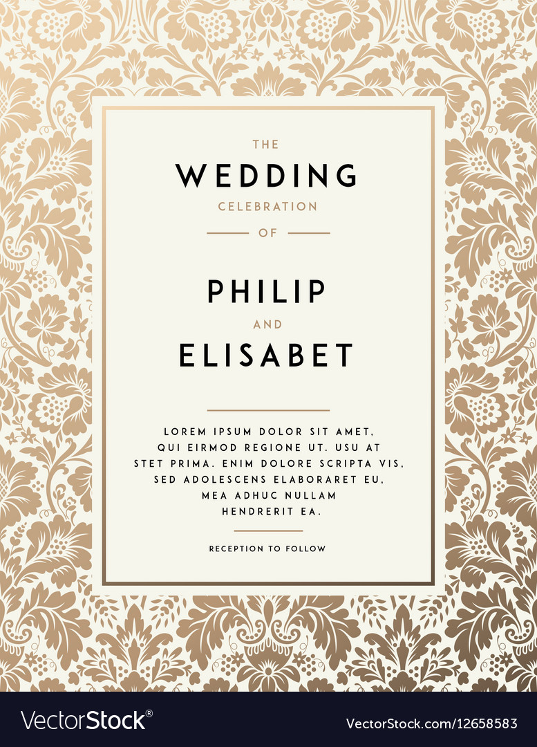 Vintage Wedding Invitation Templates Vintage Wedding Invitation Template Royalty Free Vector