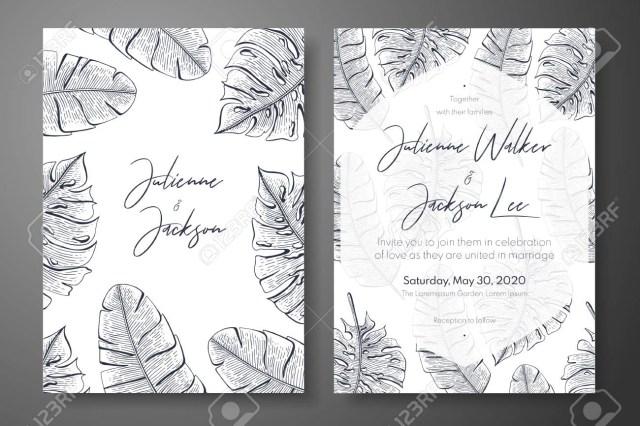 Vintage Wedding Invitation Templates Vintage Wedding Invitation Templates With Tropical Leaves Cover