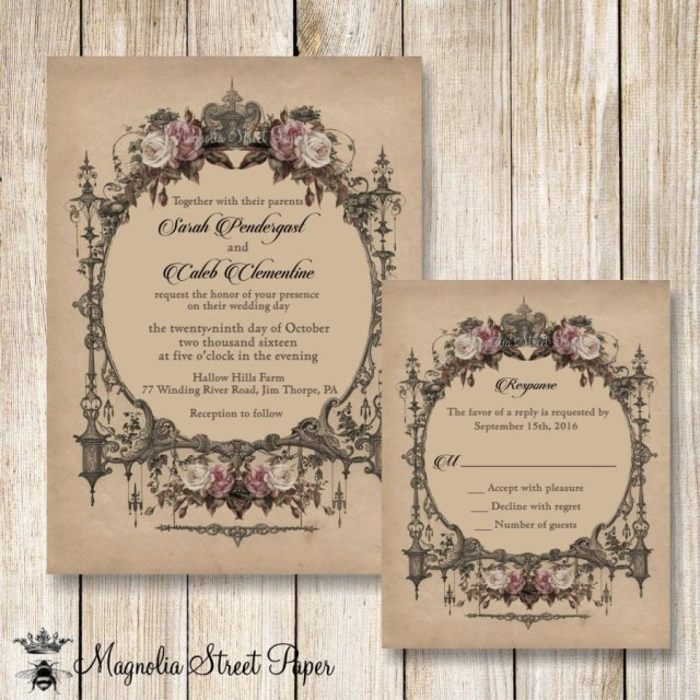 Vintage Wedding Invitations Goth Wedding Invitation Halloween Wedding Invitations Printable