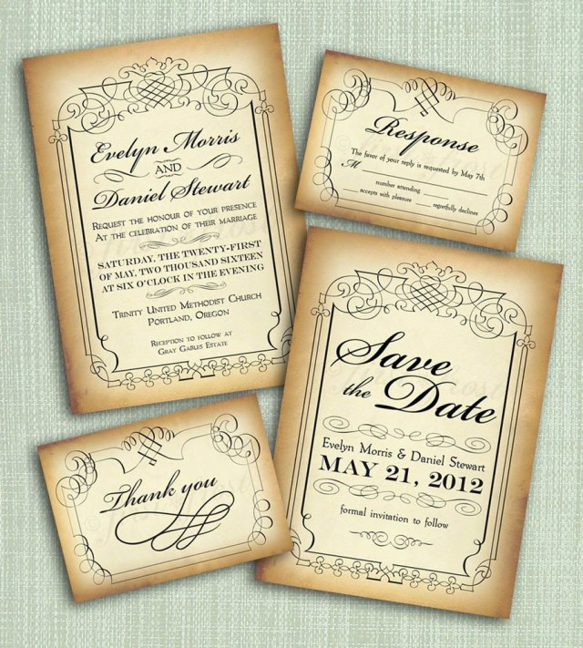 Vintage Wedding Invitations Printable Vintage Style Wedding Invitation Suite Diy 4 Pieces