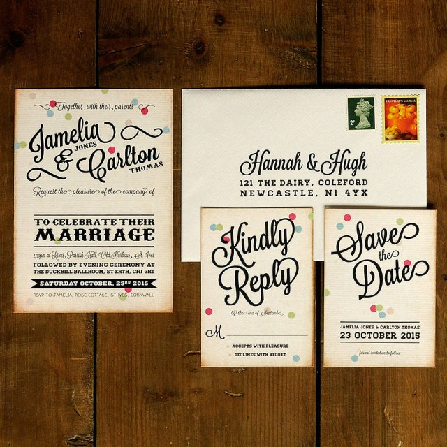 Vintage Wedding Invitations Vintage Confetti Wedding Invitation Feel Good Wedding Invitations