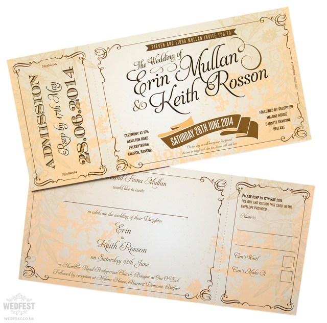 Vintage Wedding Invitations Vintage Ticket Style Wedding Invites Wedfest