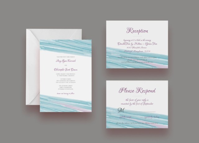 Watercolor Wedding Invitations Custom Watercolor Wedding Invitation Suite Invite Response Card