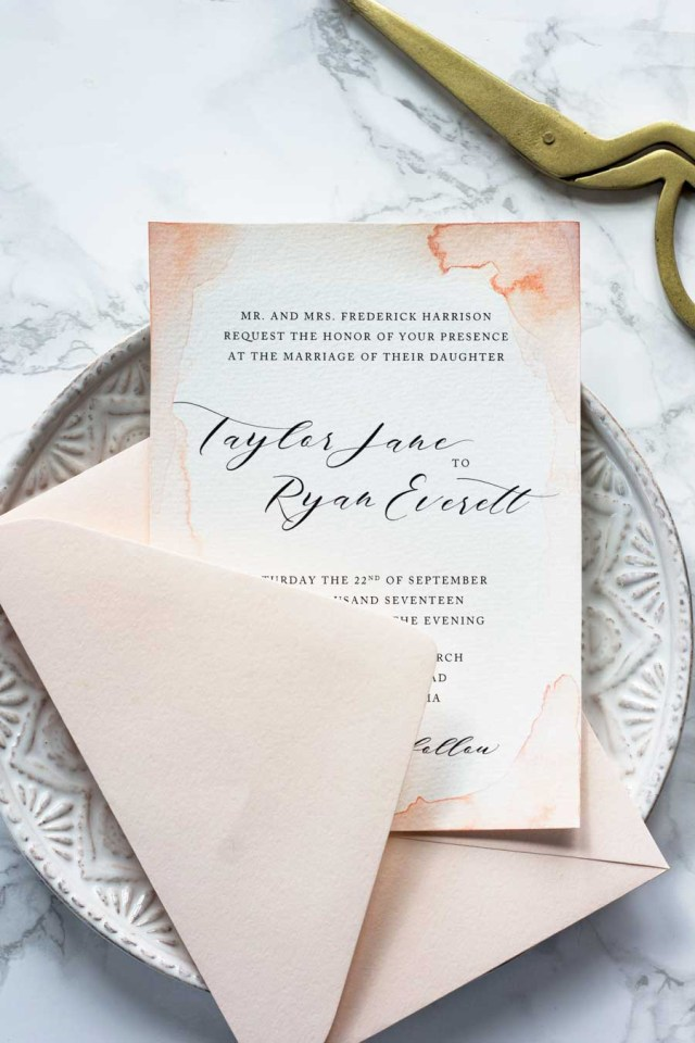 Watercolor Wedding Invitations Subtle Watercolor Wedding Invitations How To Make Your Own