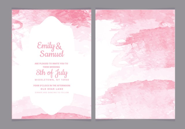 Watercolor Wedding Invitations Watercolor Wedding Invitation Free Vector Art 13200 Free Downloads