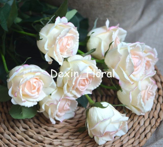 Wedding Bouquets Diy Light Blush Medium Roses Buds Real Touch Roses Blush Cream Ivory