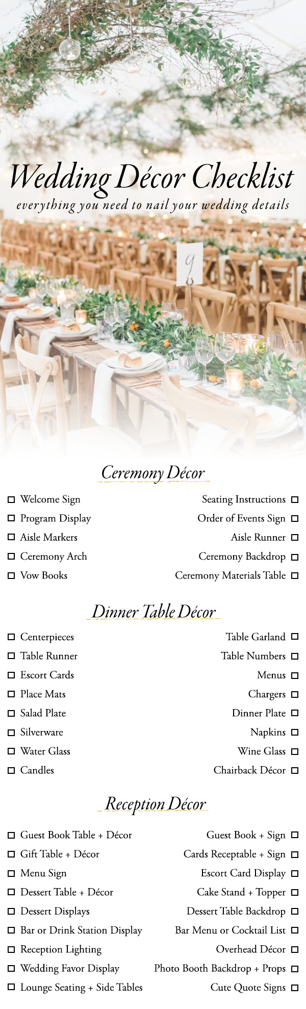 Wedding Decor Details Use This Wedding Dcor Checklist To Help You Nail Every Detail