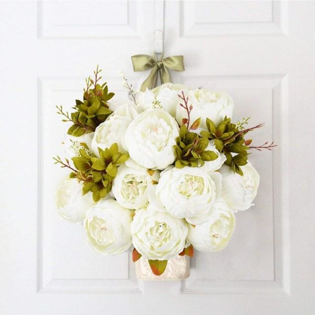 Wedding Decor Floral 2 Pcs Vintage Artificial Peony Silk Flowers Bridal Bouquet Home