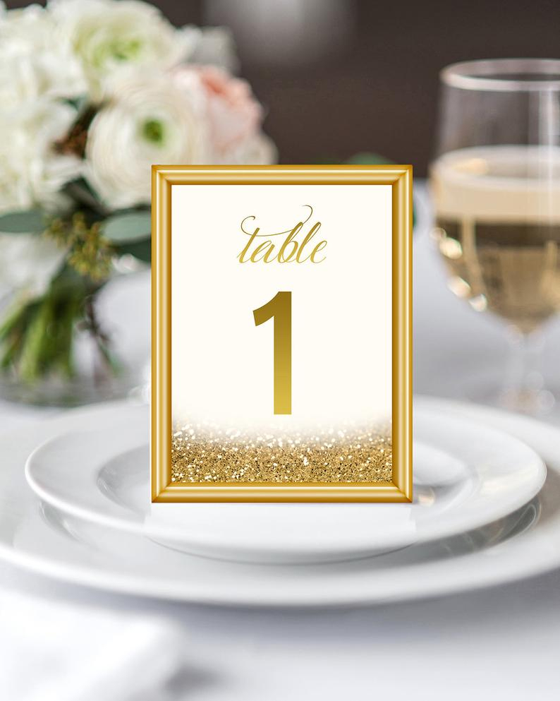 Wedding Decor Gold 1 30 Gold Table Numbers Gold Wedding Decor Gold Glitter Table Etsy