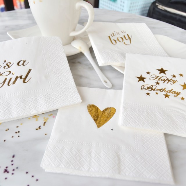 Wedding Decor Gold Happy Birthday Paper Napkins Dinner And Kids Birthday Party Ornament