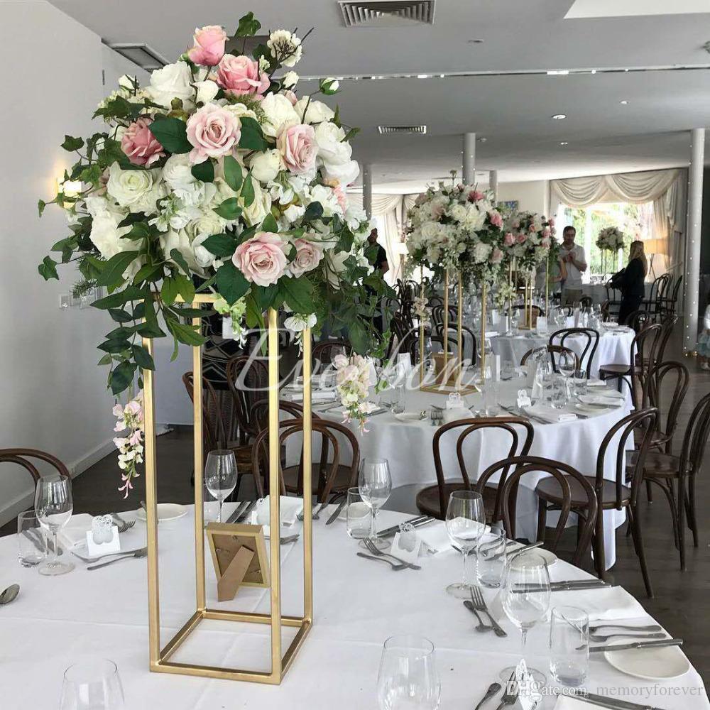 Wedding Decor Gold Wedding Flower Vase Metal Flower Stand Gold Flower Column Elegant