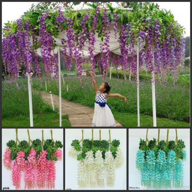 Wedding Decor List Elegant Artificial Silk Flower Wisteria Flower Vine Rattan For