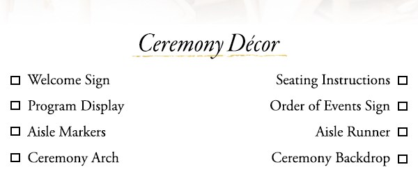 Wedding Decor List Use This Wedding Dcor Checklist To Help You Nail Every Detail