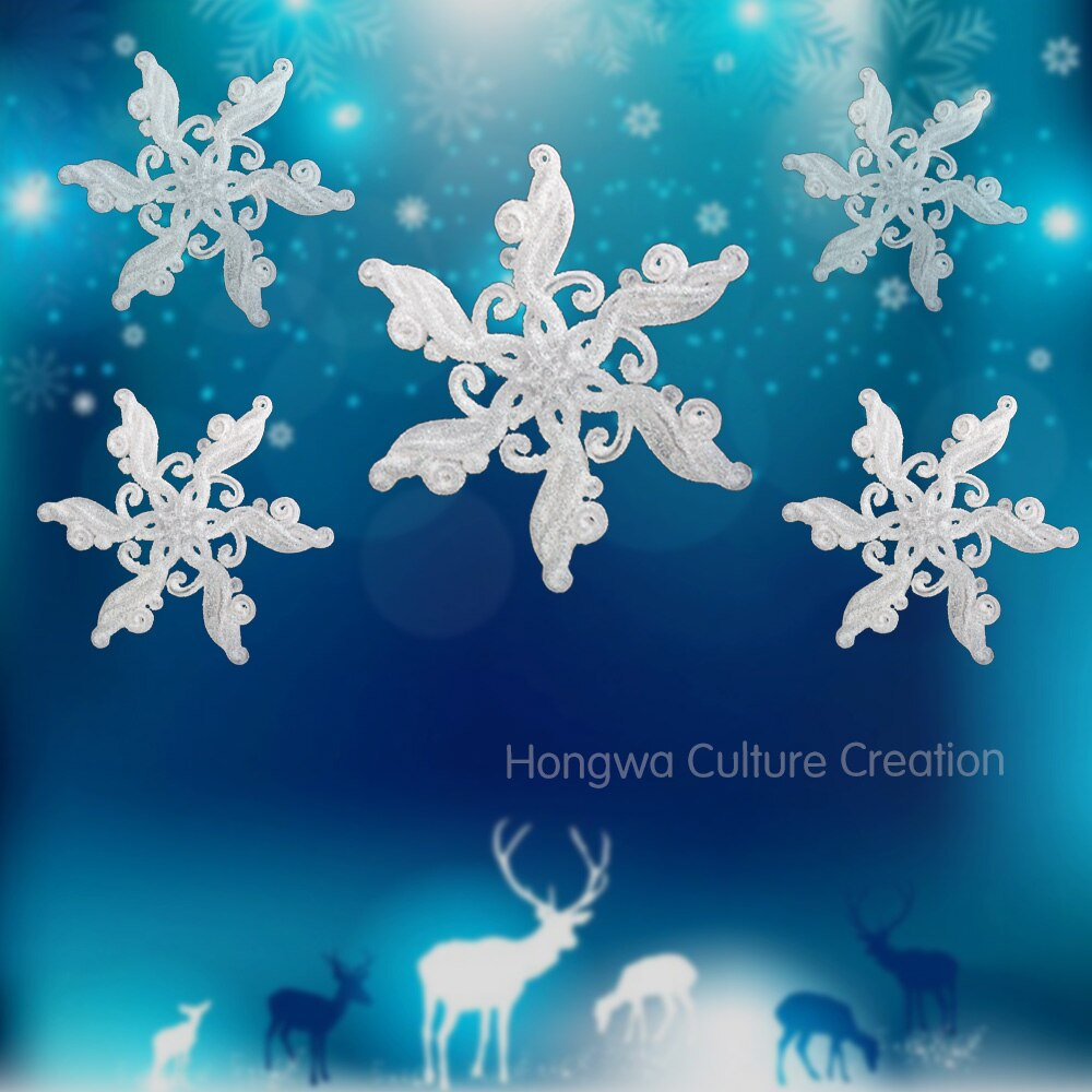 Wedding Decorations Colorful 12cm 4pcs Acrylic Solid Snowflake Festival And Wedding Decorations