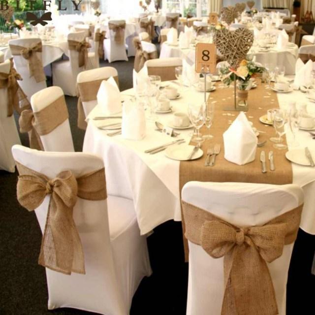 Wedding Diy Decorations Rustic Wedding Decoration Burlap Table Runner Chair Sashhessian Flowers Party Chair Cove Table Decor Diy Decorations Supplies